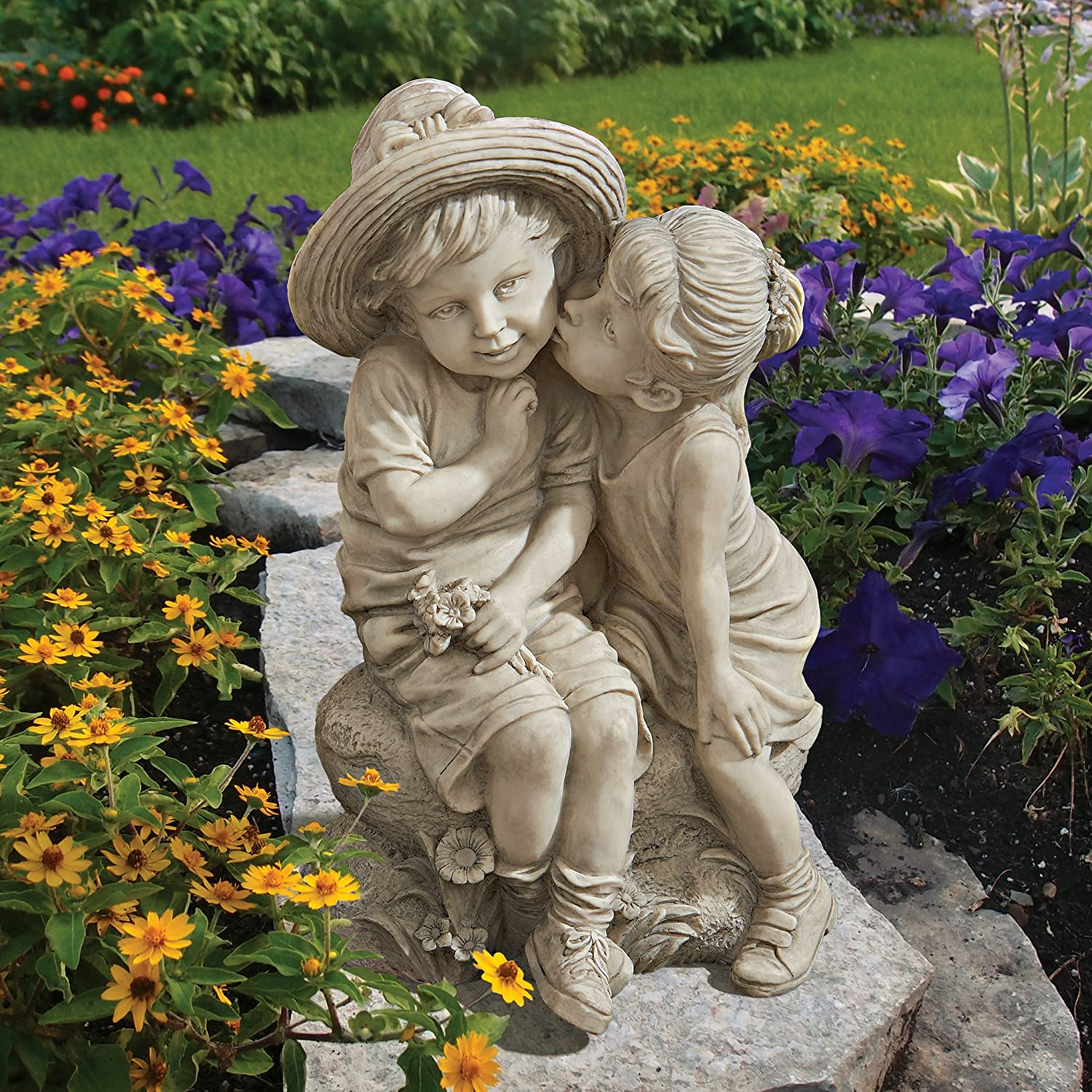 Boy And Girl Statue For Patio And Lawn
