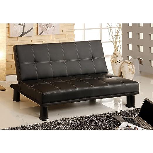 Metro Shop Furniture of America Pierce Black Leatherette Convertible Sofa--