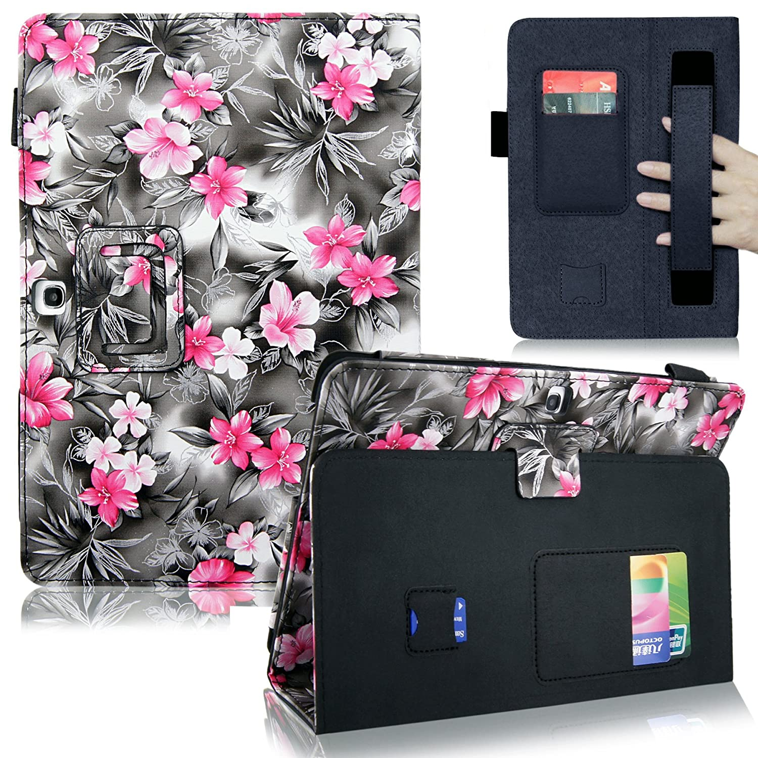 Cellularvilla Case for Samsung Galaxy tab 3 7 8 Gen Pu Leather Elastic Hand Strap Flip Folio Stand Case Cover + Stylus Touch Pen