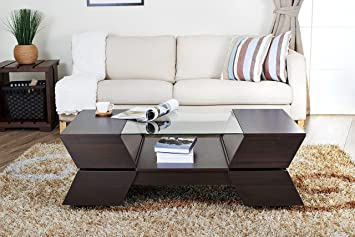 Reimer Modern Glass-Top Coffee Table, Espresso