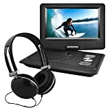 Ematic Portable DVD Player with 10-inch LCD Swivel Screen, Headphones and Car Headrest Mount, Black (Color: Black, Tamaño: 10-Inch)