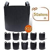 Gardzen 10-Pack 5 Gallon Grow Bags, Aeration Fabric Pots with Handles (Color: 10-Pack, Tamaño: 5 Gallons)