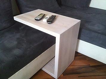 Couchtisch C-Tisch - Beistelltisch aus massivem Buchenholz keilgezinkt, gebeizter Tisch in weiß - transparent mit Kugellager-Rollen