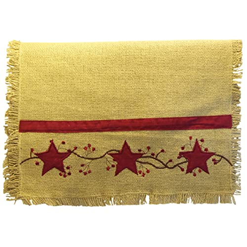 36 Primitive Star Vine Cotton Burlap Runner (13x36)