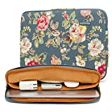 kayond Water-Resistant Canvas 15.6 inch Laptop Sleeve-Blue Water Hyacinth (Color: Blue water hyacinth, Tamaño: 15-15.6 inch)