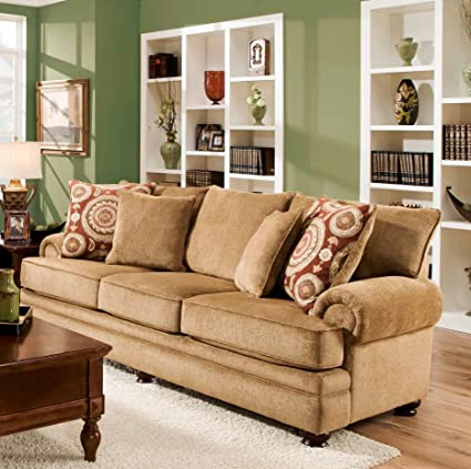 Chelsea Home Furniture Ria Sofa, Twill Green/Sumatra Cayenne