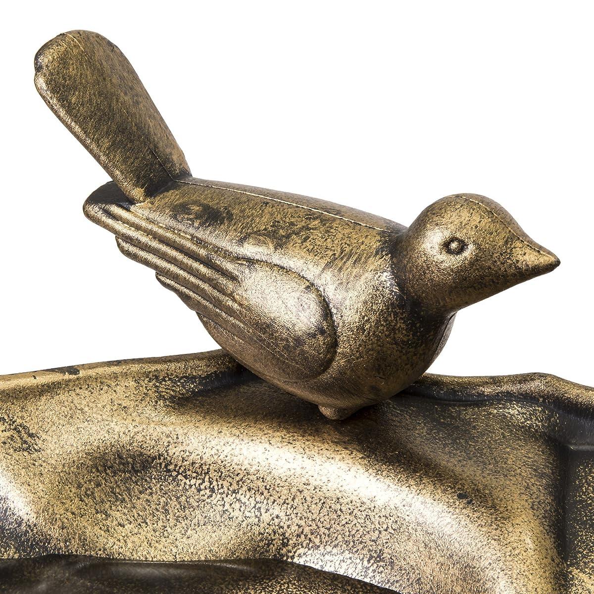 Best Choice Products Pedestal Bird Bath w/Scroll Accent, Sitting Pair of Birds - Antique Gold