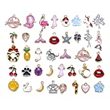 50pcs Mix Style Enamel Alloy Cute Animals Mermaid Tail Christmas Girls Charm Pendant DIY Jewelry Making Charms (Color: 11447)