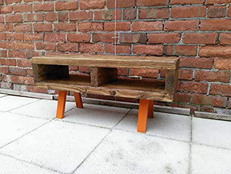 Tv stand contemporary rustic industrial tv stand or coffee table 90 cm funky Orange legs