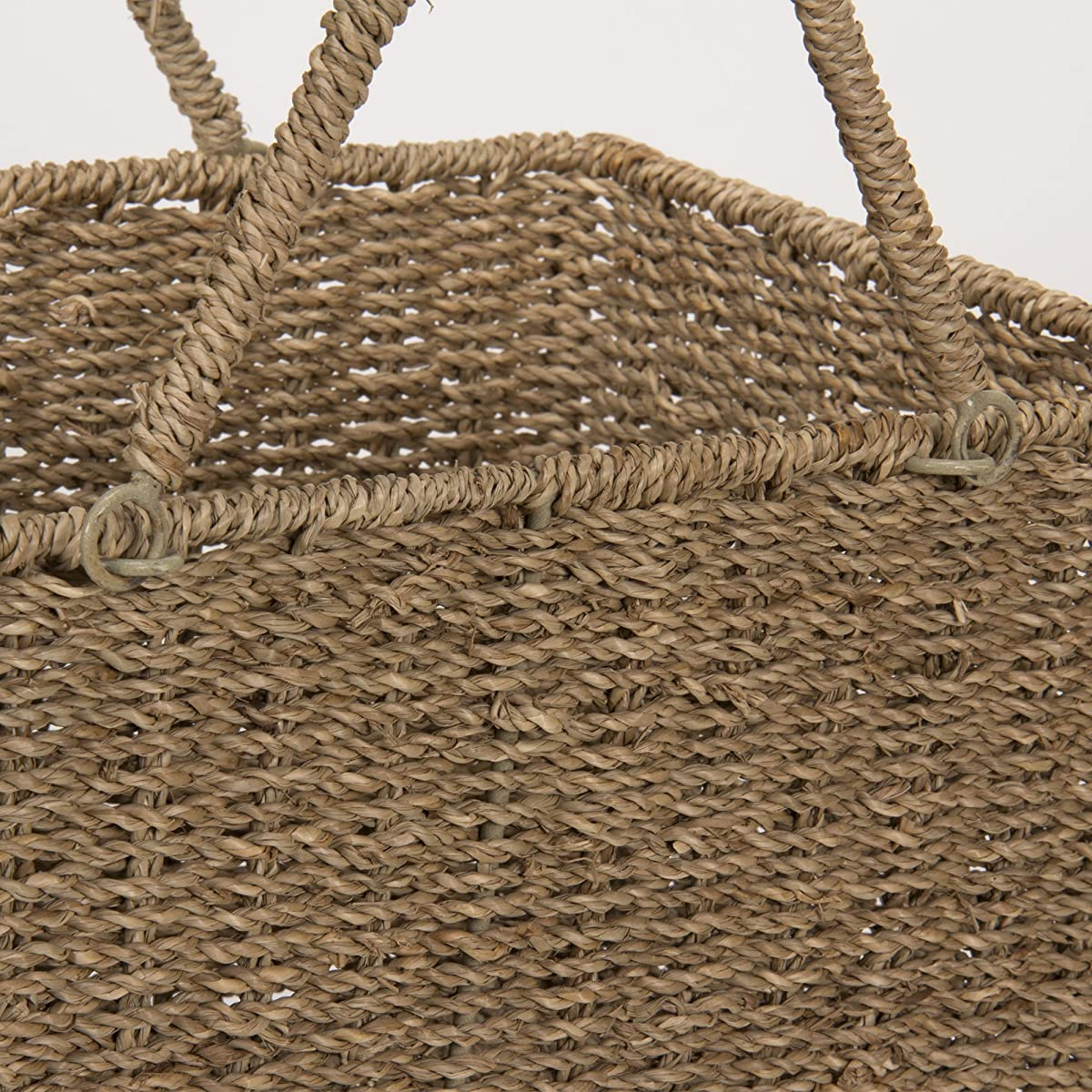 Household Essentials ML 5647 Seagrass Wicker Stair Step Basket With Handle  | Natural Brown