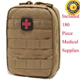Carlebben EMT Pouch MOLLE Ifak Pouch Tactical MOLLE Medical First Aid Kit Utility Pouch (with Medical Supplies Tan) (Color: With Medical Supplies Tan, Tamaño: One Size)