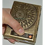 Antique Gold USB Rechargeable Windproof Metal Electric Built-in Flame Less Lighter Cigarette Cigar Storage Case (FREE CAR sticky pad for Phone PDA MP3 MP4) GD-1380