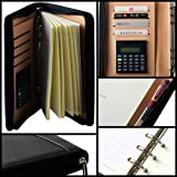 Mcbazel PU Leather A5 6 Ring Bound Business Notepad Travel Journal Diary with Built-in Solar Calculator 4 Card Slot Pen Holder Card Slot Refillable Zipper Folder Organizer Black (Color: Black)