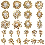 WeimanJewelry Gold Plated 24pcs Crystal Rhinestones Brooch Pins for DIY Wedding Bouquets Kit (gold with pearl)