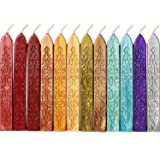 Bememo 12 Pieces Sealing Wax Sticks with Wicks Antique Fire Manuscript Sealing Wax for Wax Seal Stamp (12 Colors A) (Color: 12 Colors a)