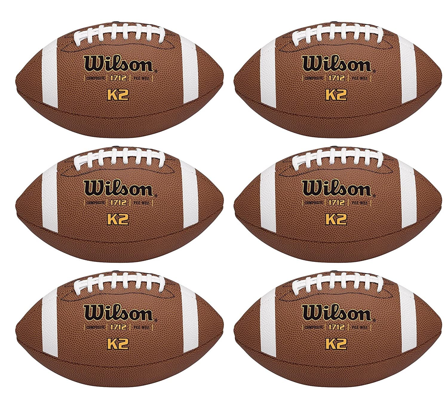 цена на (6) WILSON K2 Pee-Wee Size Soft Composite Leather Game Sport Footballs | WTF1712