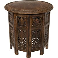 Cotton Craft Hand Carved Accent Table