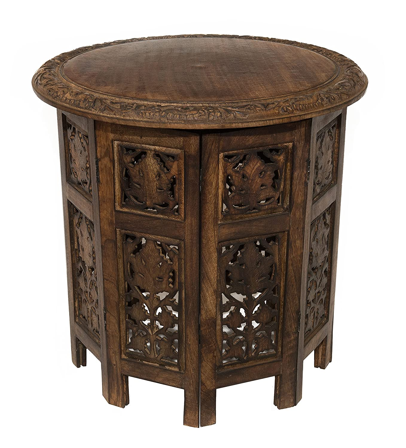 Solid wood hand carved table antique style brown furniture for Home decor furniture