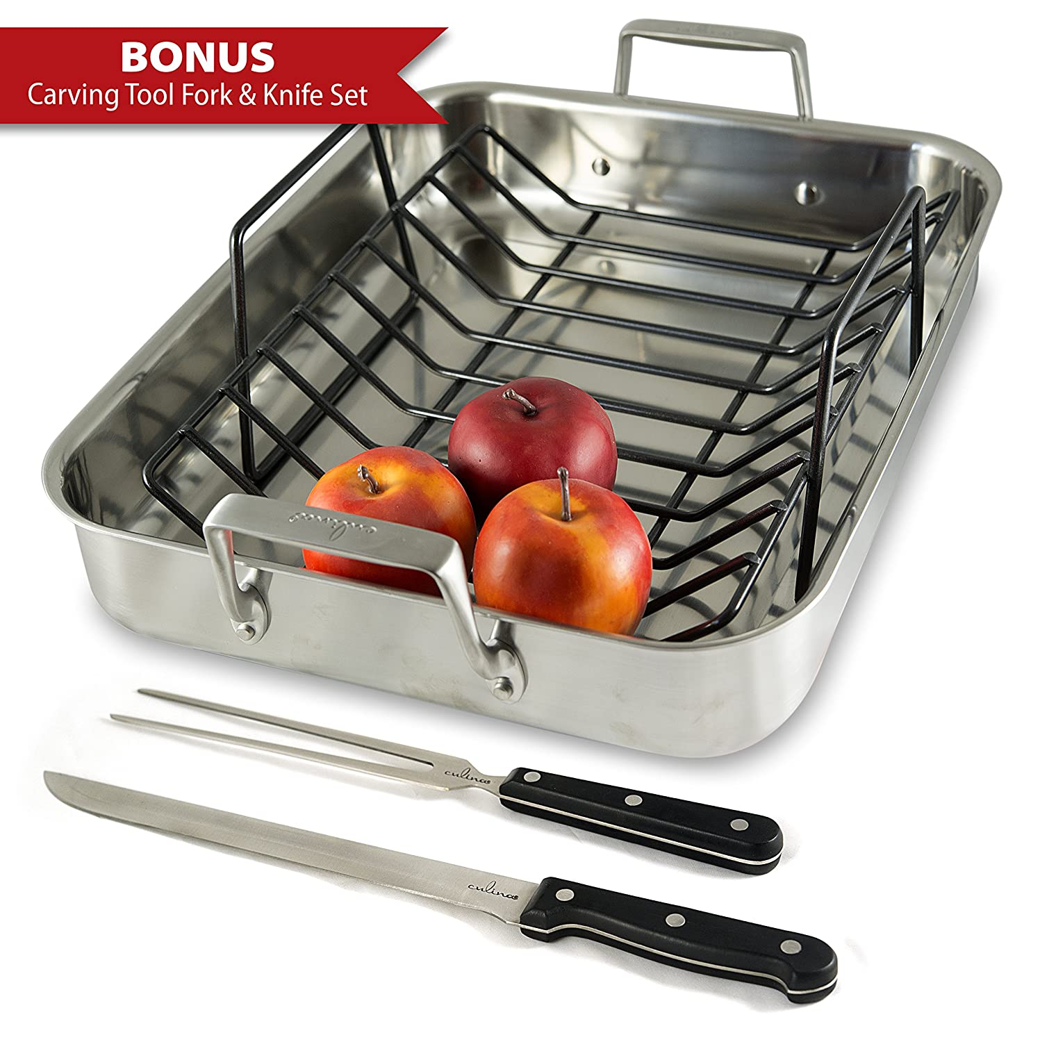 Oven roaster pan stainless steel roasting rack roast bake stove turkey ham clean ebay - Clean oven tray less minute ...