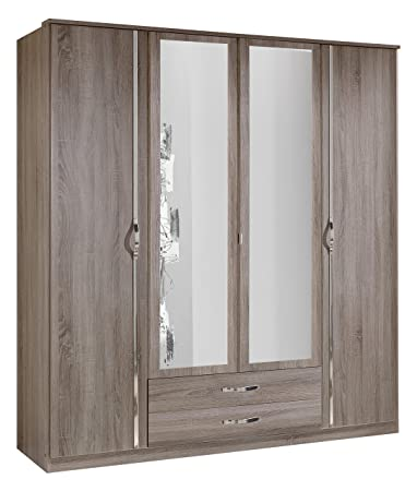 Wimex 066453 Kleiderschrank 4-turig mit zwei Schubkästen und zwei Spiegelturen, montana Eiche Nachbildung / aufleistung Chrom