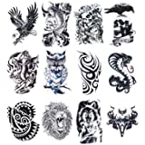 12 Sheets Temporary Tattoos Stickers, Fake Body Arm Chest Shoulder Tattoos for Men (Color: 12 Sheets)
