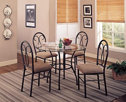 5pc Dining Table and Chairs Set Metal Base Dark Brown Finish