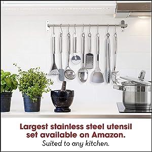 Stainless Steel Kitchen Utensil Set - 29 Cooking Utensils - Nonstick