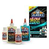 Elmer's Glow-in-The-Dark Slime Kit (2062242) (Color: Natural/Blue, Tamaño: 5 oz (2-Count) + 2-Activator)