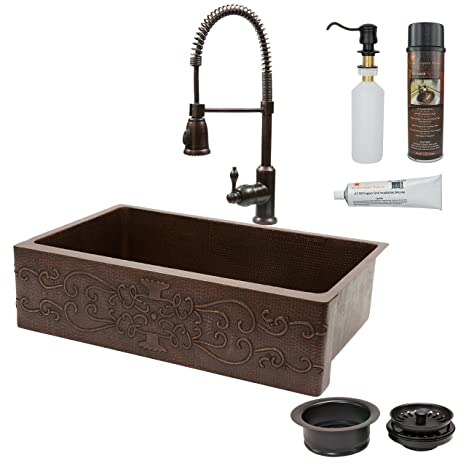 Premier Copper Products KASDB35229S 35-Inch Kitchen Apron Single Basin Sink Scroll Design with Spring Pull Down Faucet Package, Oil Rubbed Bronze