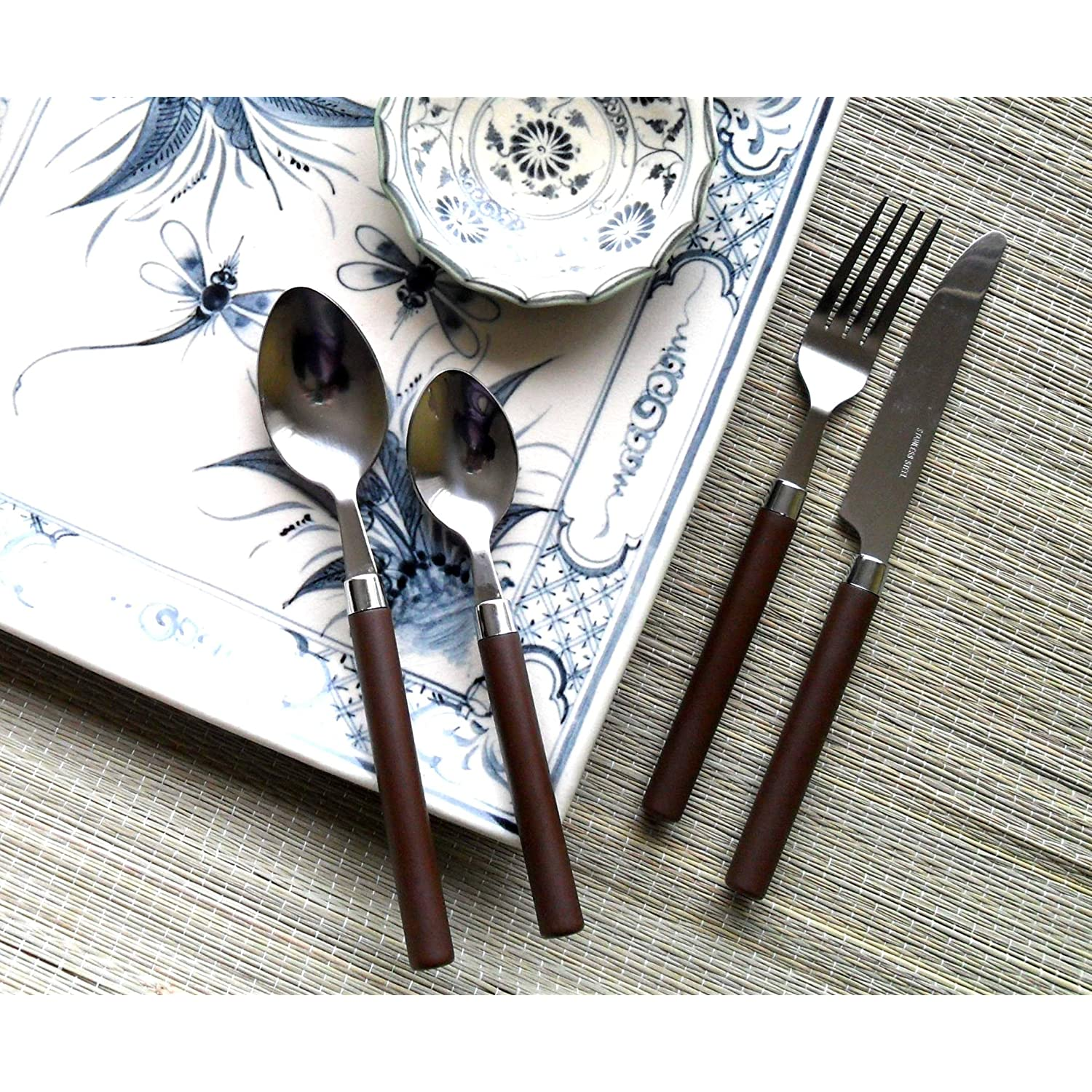 Flatware Service for 4 Stainless Steel with Trendy Coffee Colored Handles for Spring