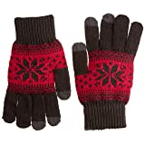 Boss Tech Products, Inc. Knit Touchscreen Gloves with Three Conductive Fingertips per Hand for Touchscreen Electronic Devices - Retail Packaging - Gray