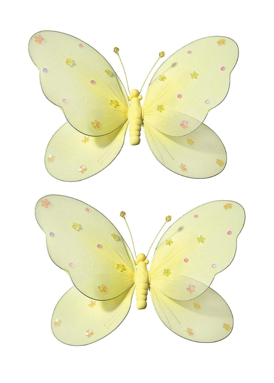 2-teilig Schmetterling für Mädchen-Kinderzimmer Dekoration zum Aufhängen, Schmetterling-Wanddeko für Geburtstag, Babyparty oder Hochzeit, Größe LARGE GELB bestellen