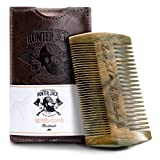 Hunter Jack Beard Comb Kit for Men - Great for Head Hair, Beard & Mustache - Handmade Premium Sandal Wood - Fine Dual Action Teeth - Comes with Gift PU Leather Case - Free eBook