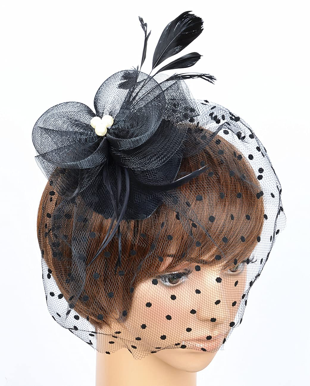 Fascinator on Hairclip for Women Mesh Feather 4