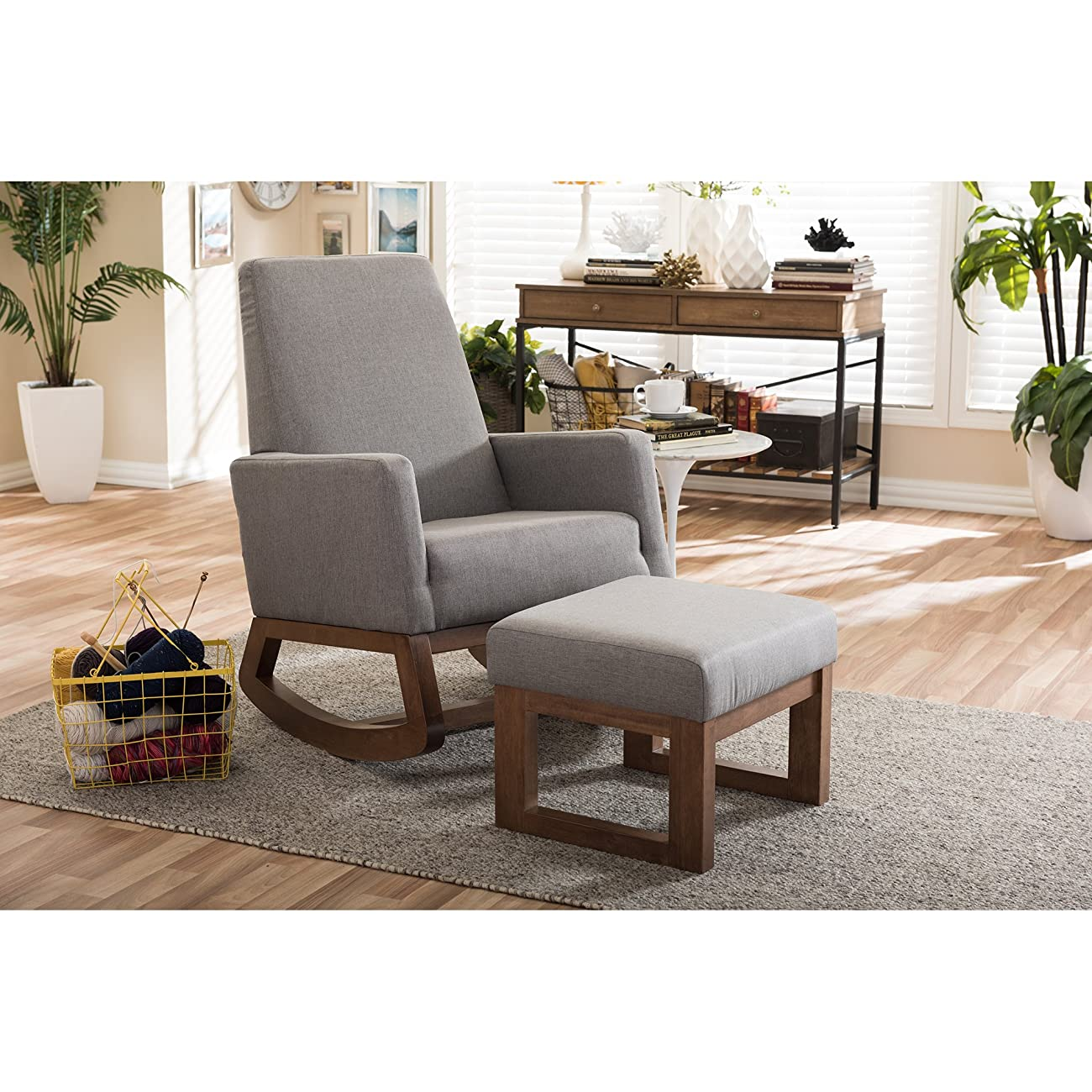 Baxton Studio Yashiya Mid Century Retro Modern Fabric Upholstered Rocking Chair, Grey 6
