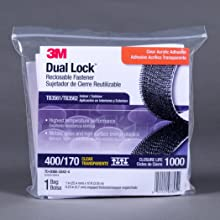 3M Dual Lock Reclosable Fastener TB3561/TB3562 400/170 Clear 1 in x 10 ft (1 Mated Strip/Bag)
