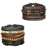 ORAZIO 9PCS Leather Bracelet for Men Womens Braided Rope Bangle Cuff Bracelet,7.5-8.5 Inches Adjustable (E:9Pcs)