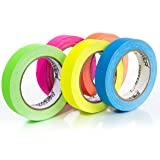 Professional Premium Grade Gaffers Tape - Heavy Duty Gaff Tape - Secures Cables, Labelling, No Sticky Residue, Multipurpose, 5 Pack UV Blacklight Reactive Fluorescent, 1 Inch x 20 Yards, Multicolor (Color: Multicolor, Tamaño: 1 Inch x 20 Yards)