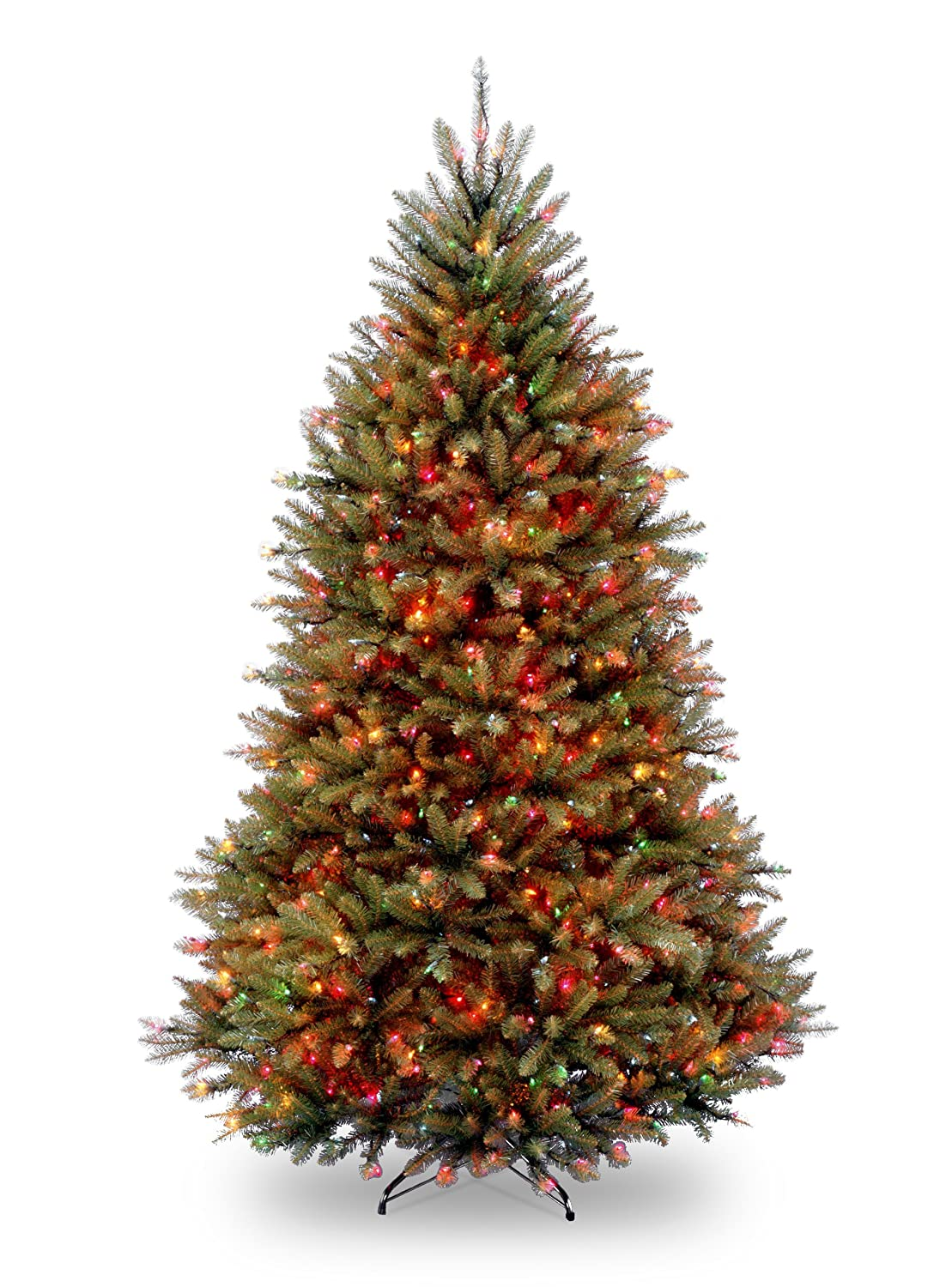 National Tree 7 1/2' Dunhill Fir Tree, Hinged, 750 Multi-Colored Lights