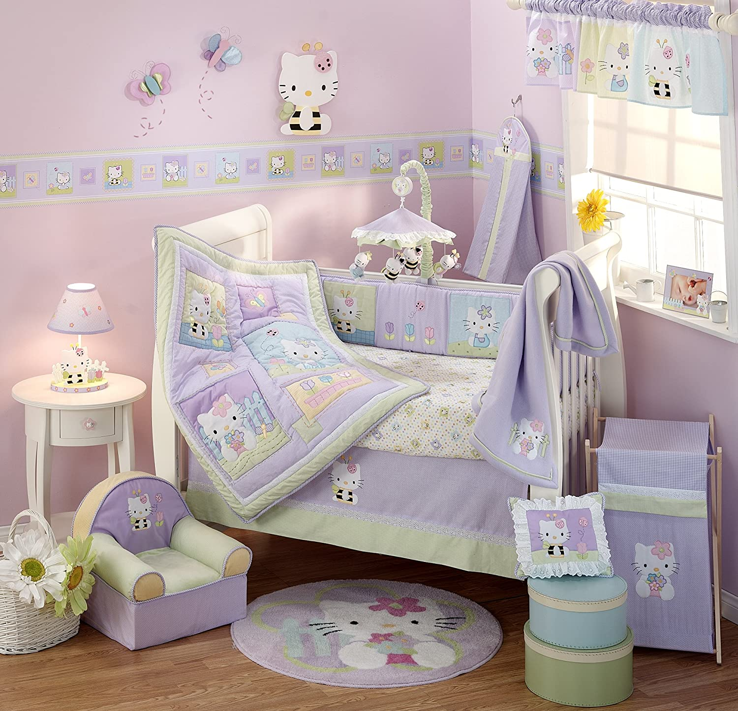 lambs and ivy hello kitty and friends baby bedding baby bedding and accessories. Black Bedroom Furniture Sets. Home Design Ideas