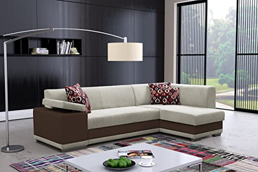VERANI PRESTIGE faux leather and fabric corner sofa bed couch with storage headrest sleeping area living room office furniture