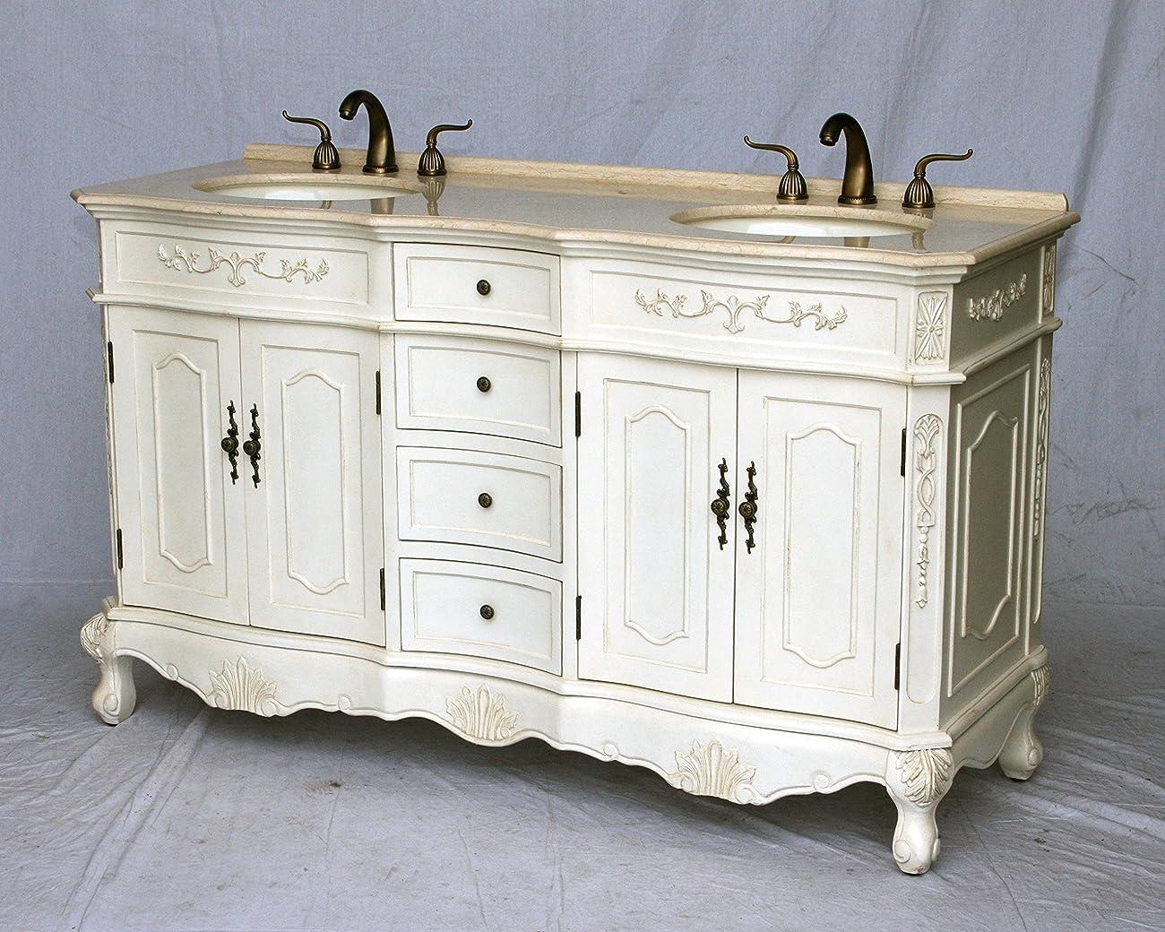 60-Inch Antique Style Double Sink Bathroom Vanity Model 1905-60 261BE 0