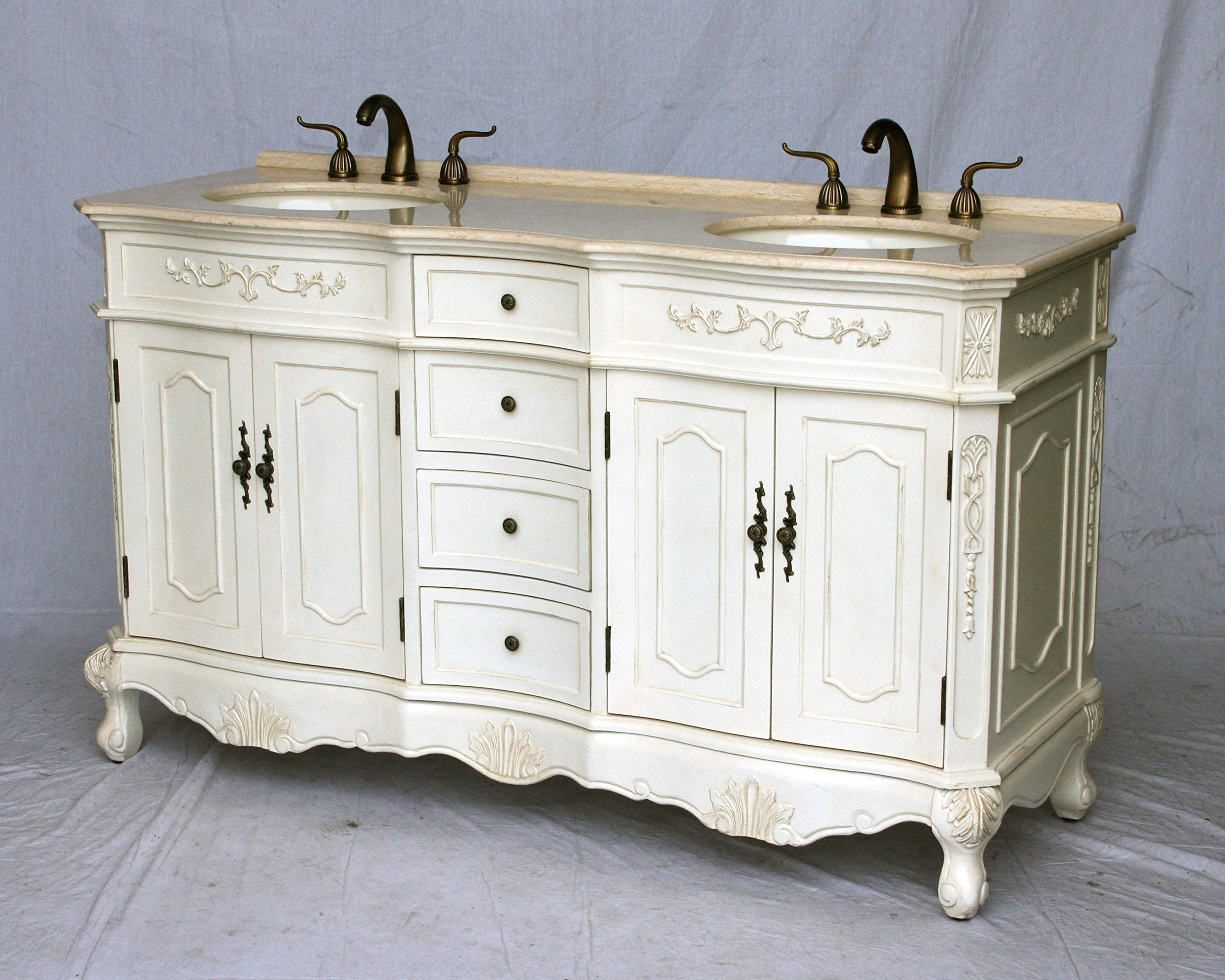 60 inch antique style double sink bathroom vanity model 1905 60 261be for Bathroom vanities vintage style