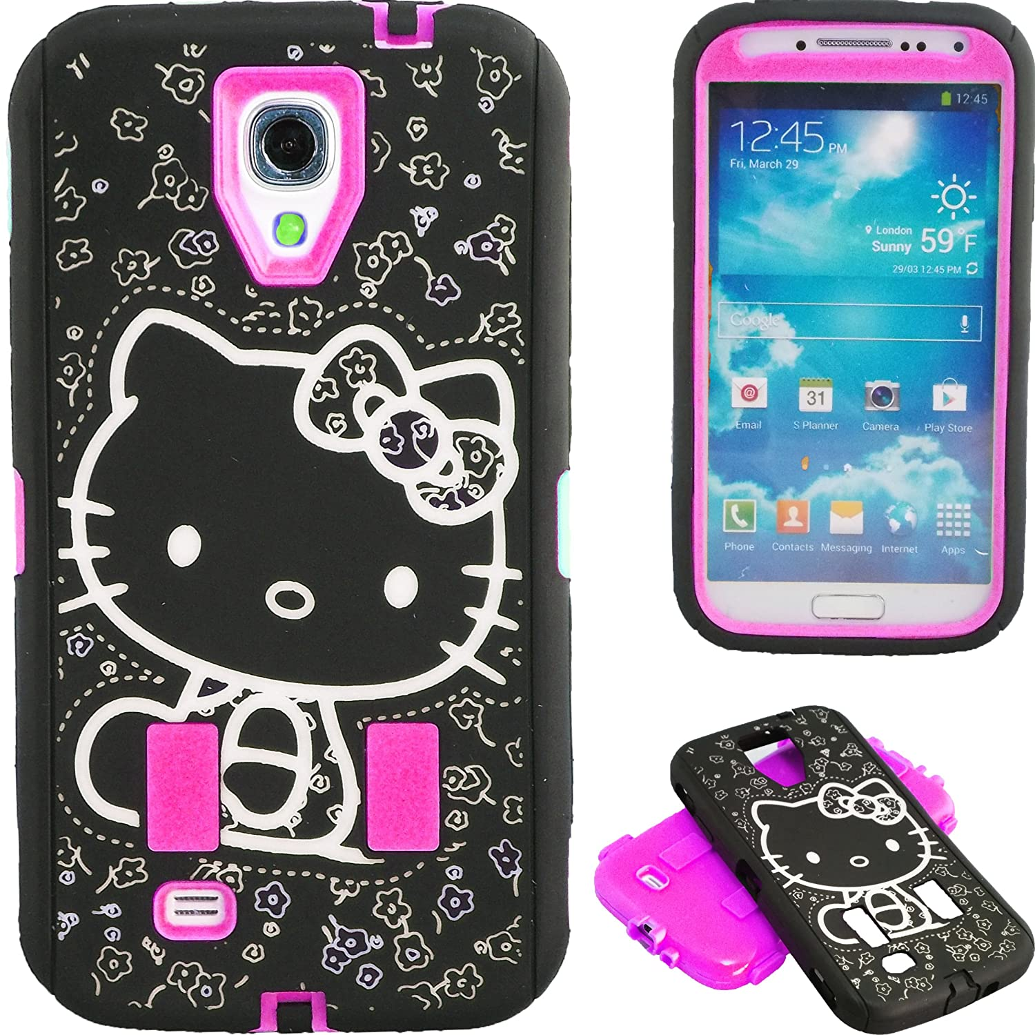 New Cute Hot Pink & Black Hello Kitty Hybrid Case for Samsung Galaxy S4 i9500 + Free Screen Protector & Stylus