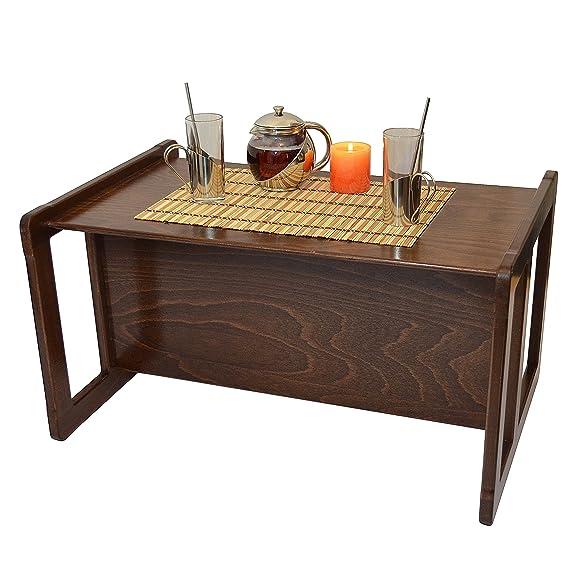 Tavolino Da Caffè Multifunzionale 3 In 1 O Tavolino O Banchina Grande Per Bambini Multifunzionale In Faggio, Colore Scura