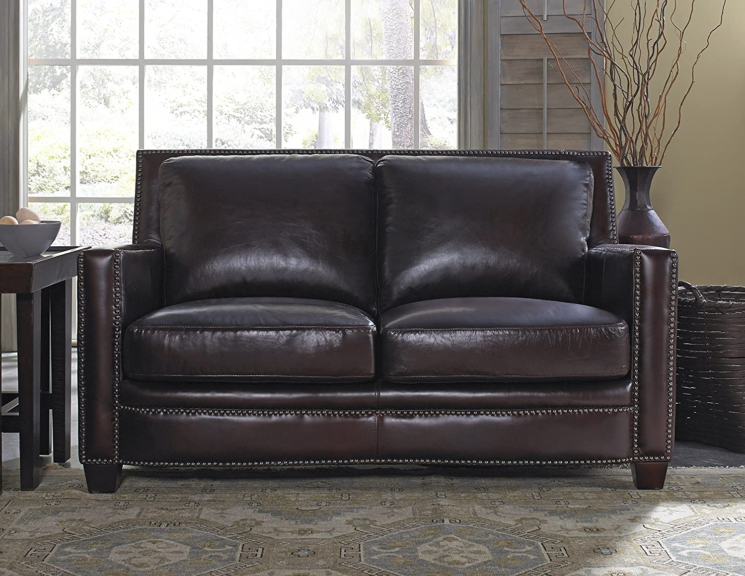 Lazzaro Simplicity Loveseat - 60 by 40 by 34-Inch - Cranberry
