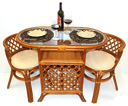Rich Dining Furniture Set 2 Chairs with Cushion Oval Dining Table ECO Rattan Wicker Color Cognac