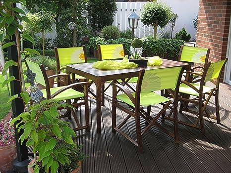 LECO 29150107 Catania 6 Regiestuhle und 1 Tisch, 80 x 160 cm Farbton Palisander / grun