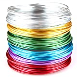 Creacraft Beading Wire Set Basic: 6 Colors of Artistic Anodized Aluminum Wire for Jewelry, Crafting, 16ft per Coil (2mm (12ga)) (Color: Pink, Silver, Gold, Blue, Green, Tamaño: 2mm (12ga))