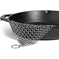 Hudson Essentials HE-CM77 Cast Iron Cleaner XL 7x7 Premium Stainless Steel Chainmail Scrubber